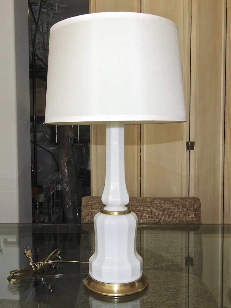 Pair of French White Opaline Table Lamps For Sale 8