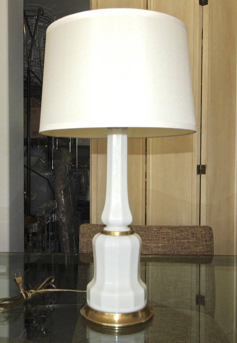 Brass Pair of French White Opaline Table Lamps For Sale