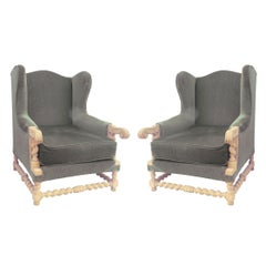 Pair of Wingback Armchairs Louis XIII Revival Recovering Included, circa 1920