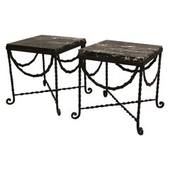 Pair of Wrought Iron and Black Marble Side/End/ Cocktail Tables, Edgar Brandt