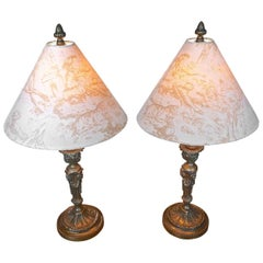 Pair French XIX Bronze Candlesticks Converted into Table Lamps with New Shades