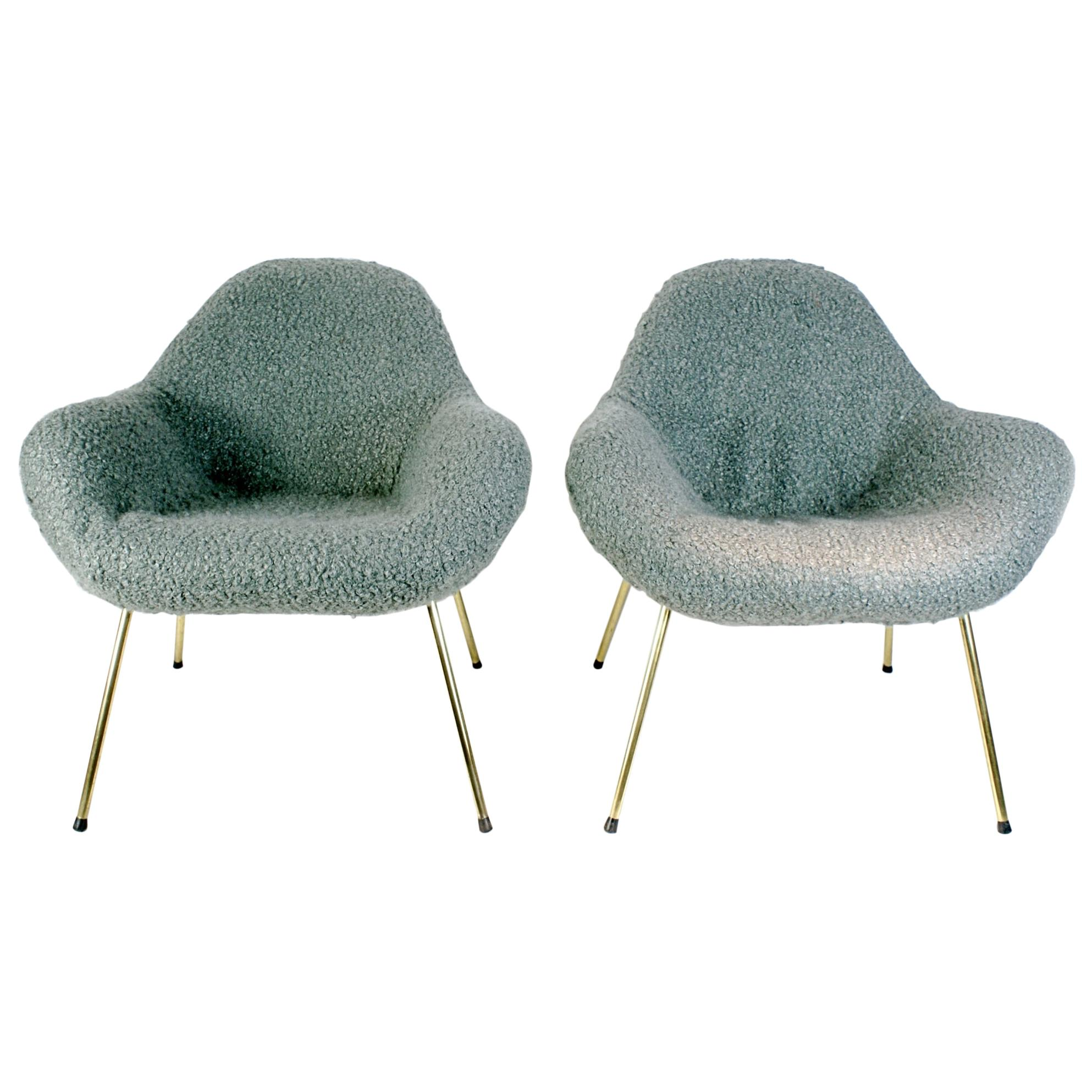 Pair of Fritz Neth Organic Midcentury Sheep Wool Lounge Chairs, 1960s, Germany