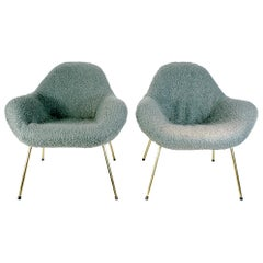 Pair of Fritz Neth Organic Midcentury Sheep Wool Lounge Chairs, 1960s, Germany