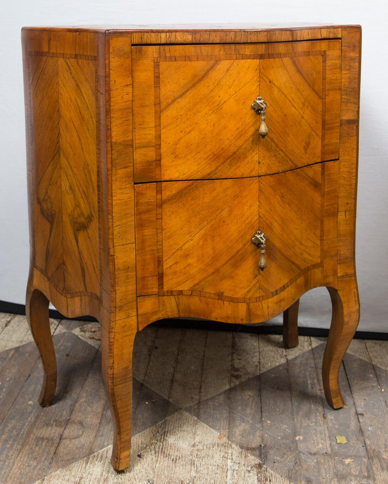 Veneer Pair of Fruitwood Bedside Commodes For Sale