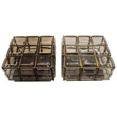 """Pair of Geometric Glass Flush Mounts with a Brass Grid from """"Limburg Boom"""" 1960s"""