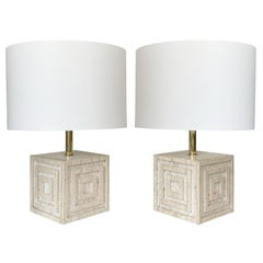 Pair Geometric Italian Travertine and Brass Table Lamps