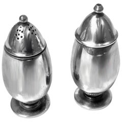 Pair of Georg Jensen Cactus Silver Salt and Pepper Shakers Casters