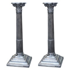 Pair of George II Style Silver Plated Candlesticks by Derby Silver Co.