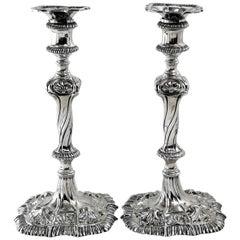 Pair of George III Georgian Sterling Silver Candlesticks 1764 Candleholders