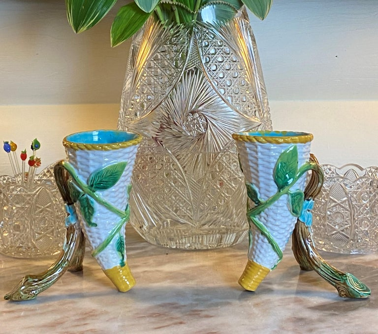 Pair George Jones Majolica Vases White Wicker, Turquoise Lined, English, 1875 For Sale 4