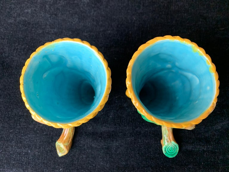 Late 19th Century Pair George Jones Majolica Vases White Wicker, Turquoise Lined, English, 1875 For Sale