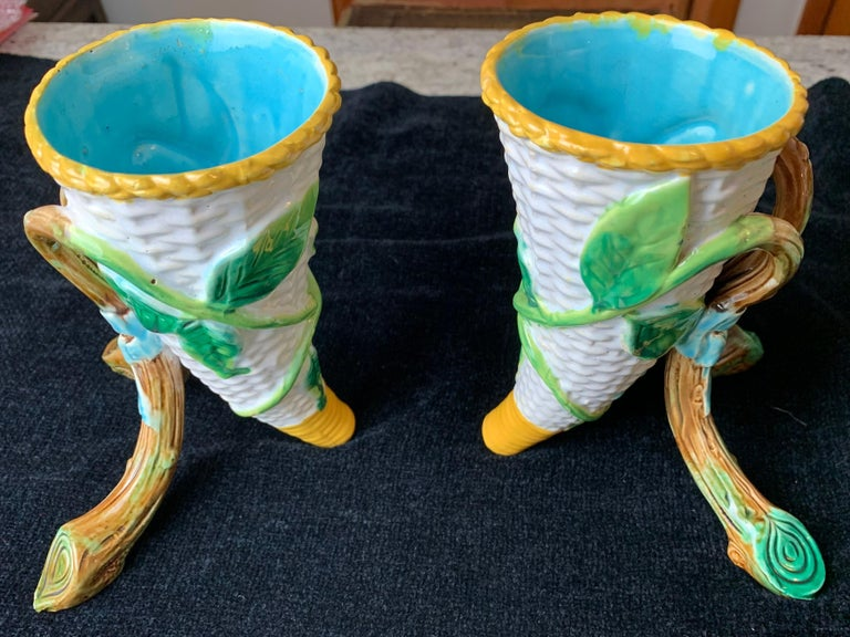 Pair George Jones Majolica Vases White Wicker, Turquoise Lined, English, 1875 For Sale 1