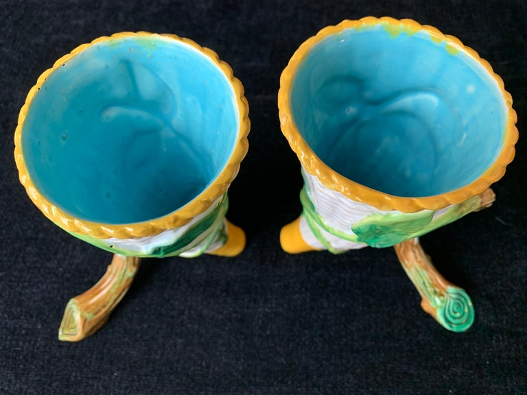 Pair George Jones Majolica Vases White Wicker, Turquoise Lined, English, 1875 For Sale 2