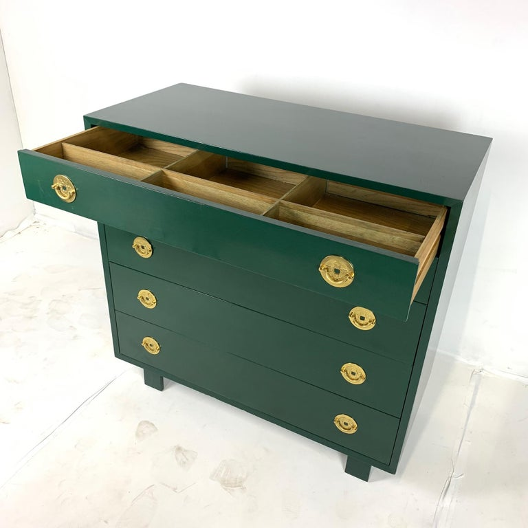Mid-Century Modern George Nelson for Herman Miller Green Lacquer 5-Drawer Chests or Dressers, Pair