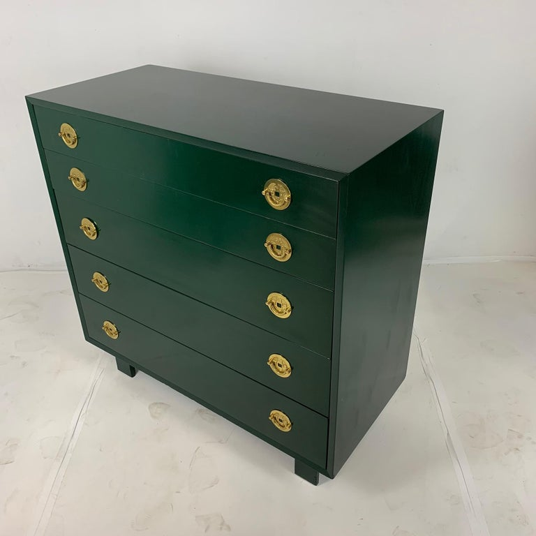 American George Nelson for Herman Miller Green Lacquer 5-Drawer Chests or Dressers, Pair