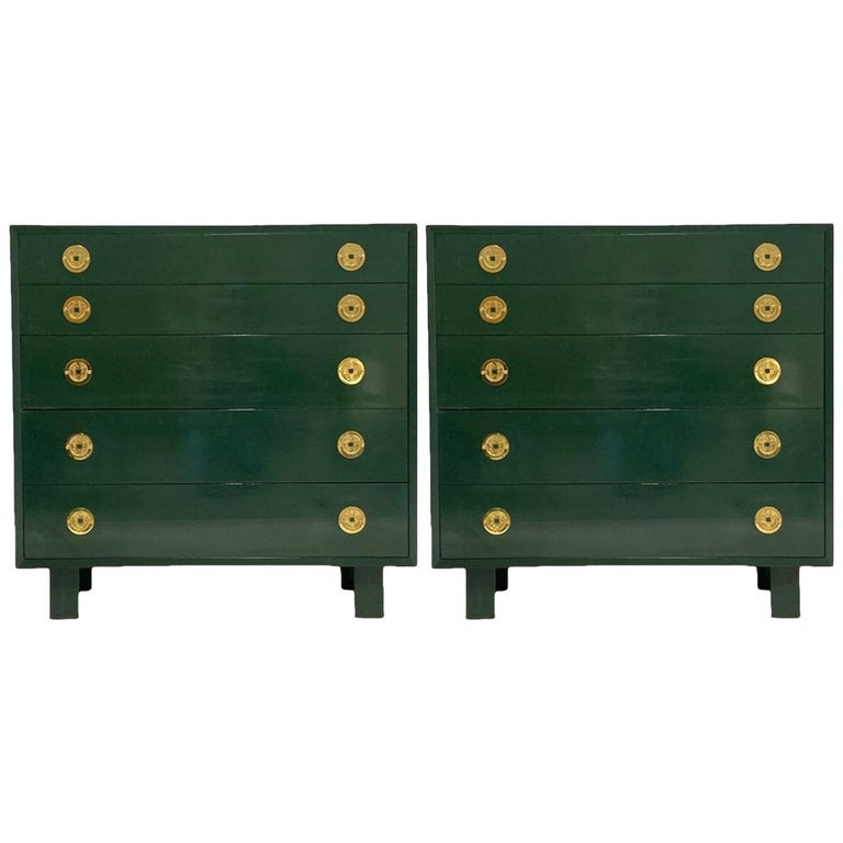 George Nelson for Herman Miller Green Lacquer 5-Drawer Chests or Dressers, Pair