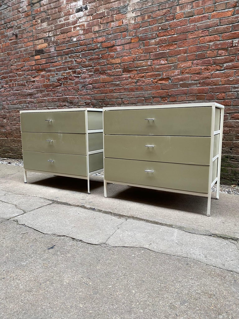 Mid-Century Modern Pair of George Nelson for Herman Miller Steel Frame Dressers For Sale