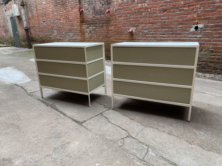 Pair of George Nelson for Herman Miller Steel Frame Dressers In Good Condition For Sale In Garnerville, NY