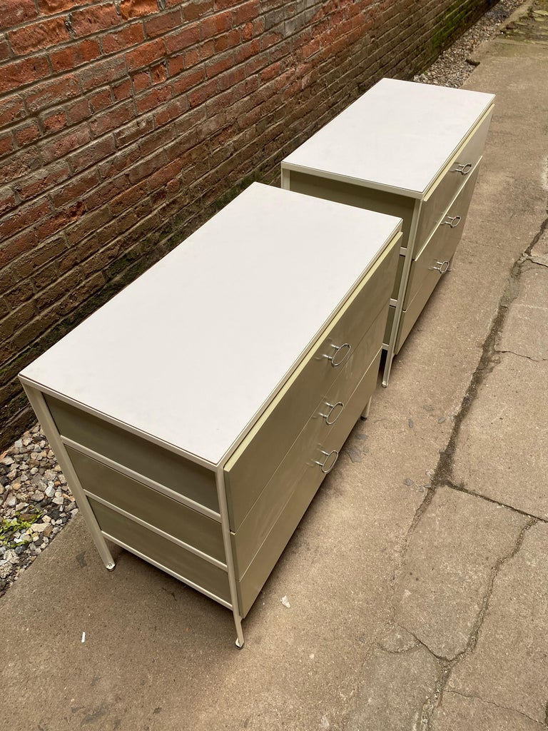 Pair of George Nelson for Herman Miller Steel Frame Dressers For Sale 1