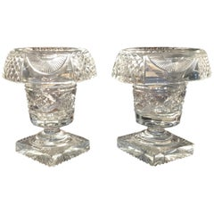 Pair of Georgian Cut Glass Compotes, Irish, circa 1820