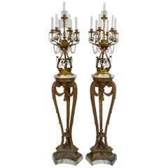 Georgian Style Giltwood Marble, Bronze & Crystal Torcheres by E F Caldwell, Pair
