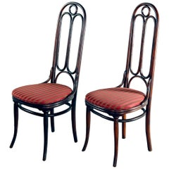 Pair of German Michael Thonet Tall Back Bentwood Chairs, Signed, 20th Century
