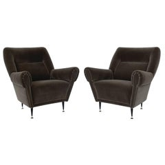 Pair Gigi Radice Italian Lounge Chairs in Mohair