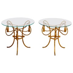 Pair Gilded Rope and Tassel Side Tables