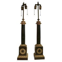 Pair of Gilt and Patinated Bronze French Empire Columnar Lamps