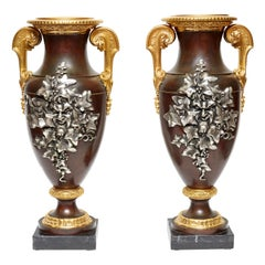 Pair Gilt and Patinated Bronze  Vases with Bacchanalian Silvered Masks