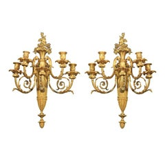 Pair Gilt  Bronze  5 Light Sconces