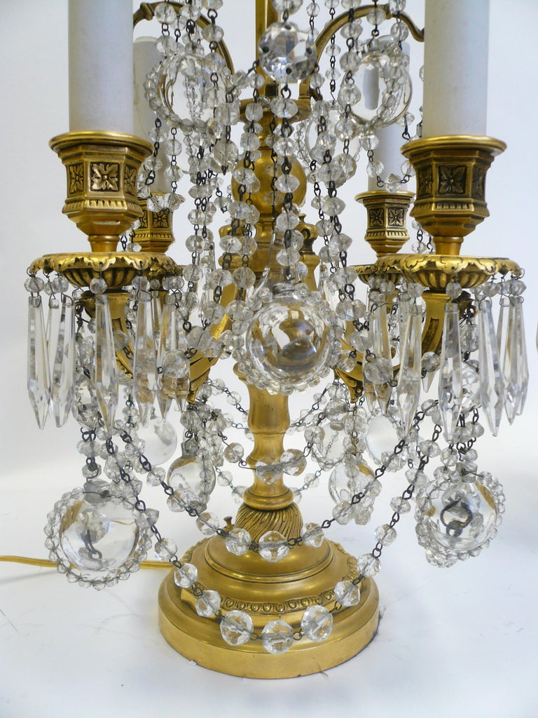 Pair Gilt Bronze and Crystal Girandole or Candelabra Lamps by E. F. Caldwell For Sale 7