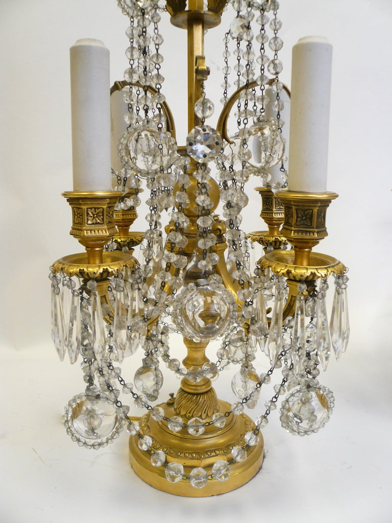 Pair Gilt Bronze and Crystal Girandole or Candelabra Lamps by E. F. Caldwell For Sale 8