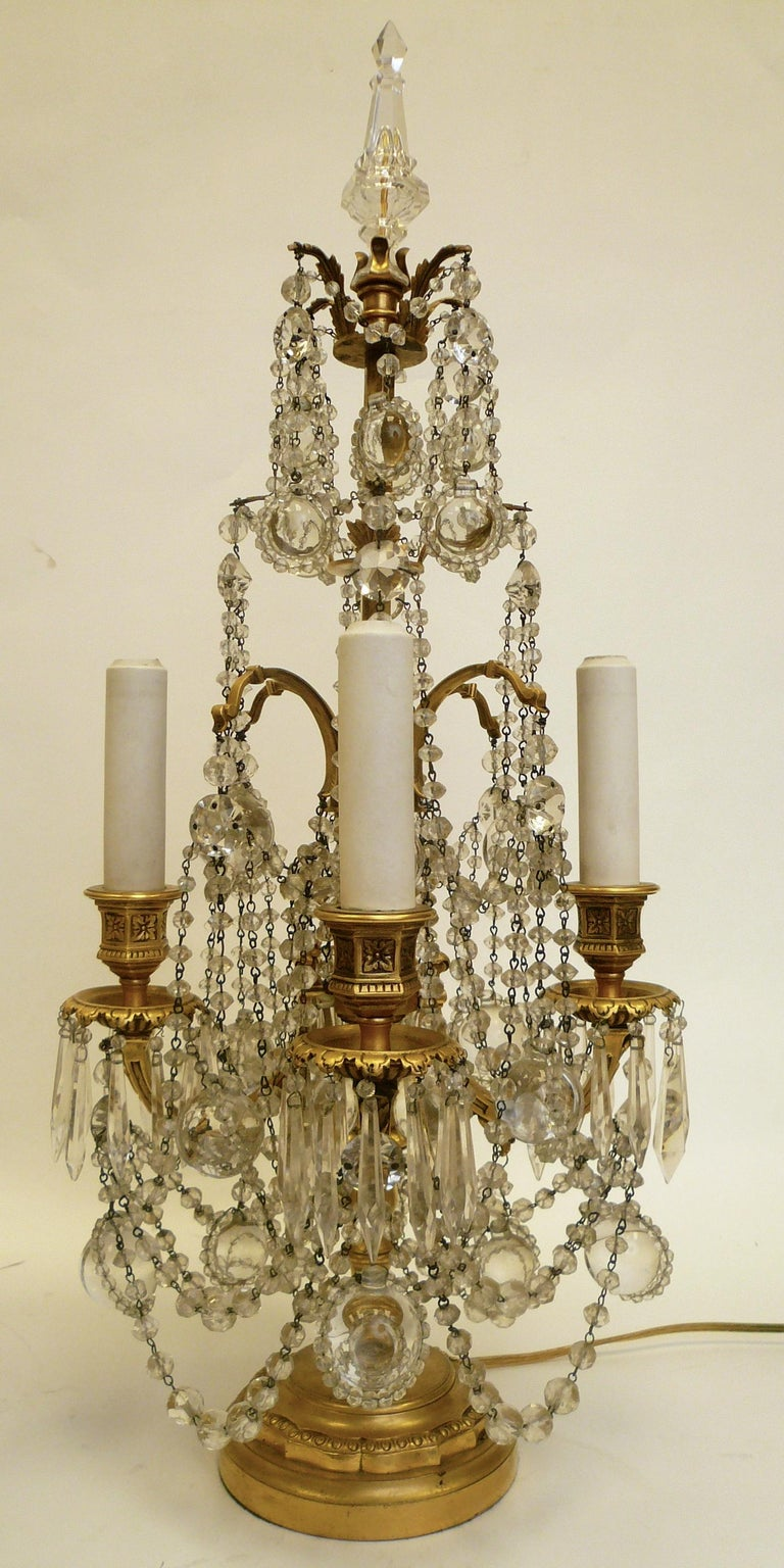 Pair Gilt Bronze and Crystal Girandole or Candelabra Lamps by E. F. Caldwell In Good Condition For Sale In Pittsburgh, PA