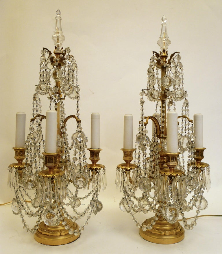 American Pair Gilt Bronze and Crystal Girandole or Candelabra Lamps by E. F. Caldwell For Sale