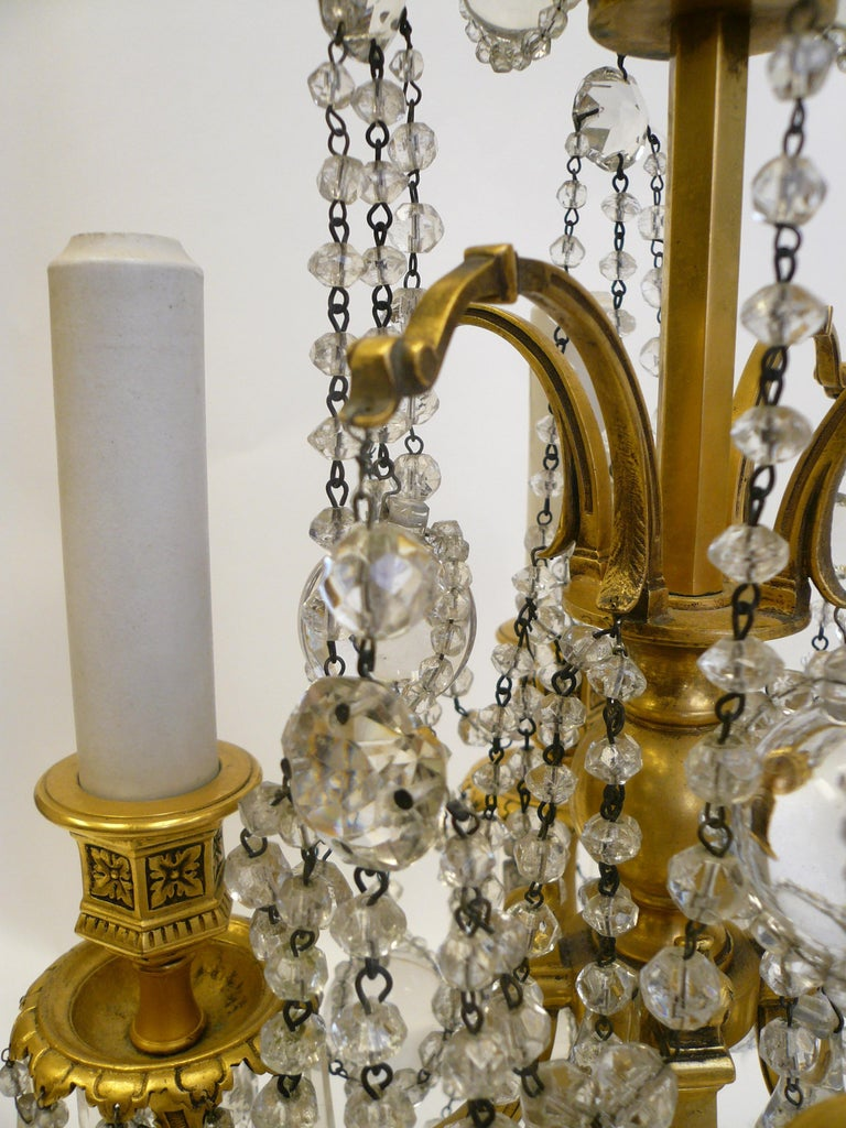 20th Century Pair Gilt Bronze and Crystal Girandole or Candelabra Lamps by E. F. Caldwell For Sale