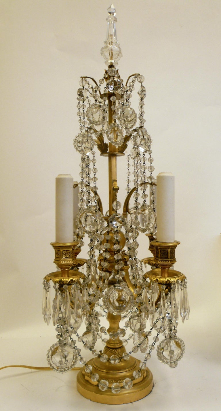 Pair Gilt Bronze and Crystal Girandole or Candelabra Lamps by E. F. Caldwell For Sale 2