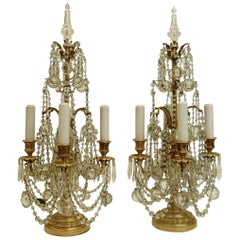 Pair Gilt Bronze and Crystal Girandole or Candelabra Lamps by E. F. Caldwell