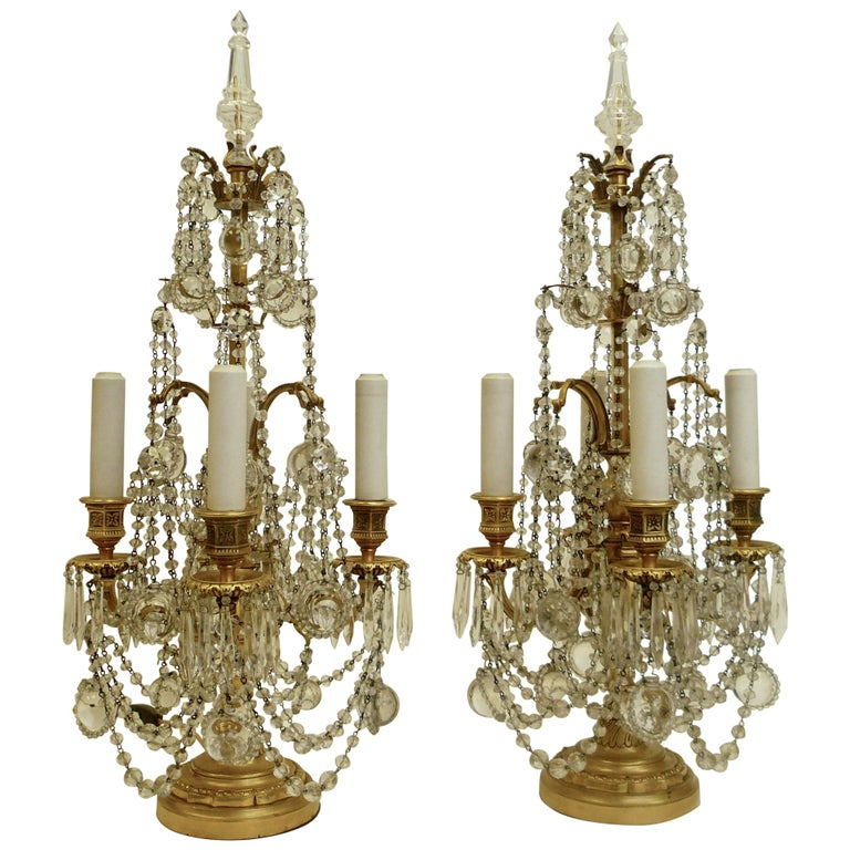 Pair Gilt Bronze and Crystal Girandole or Candelabra Lamps by E. F. Caldwell For Sale