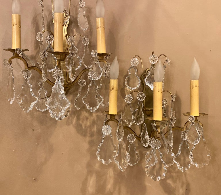 Pair gilt bronze and crystal three-light wall sconces French early 20th century. Each with a solid bronze back plate and large impressive nicely cut crystals. These can be shipped via UPS>  1SX.