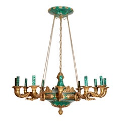 Pair of Gilt Bronze and Malachite Empire Style 12-Light Chandeliers