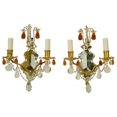 Pair of Gilt Bronze and Mirror Back Sconces with Clear and Amber Crystal Prisms