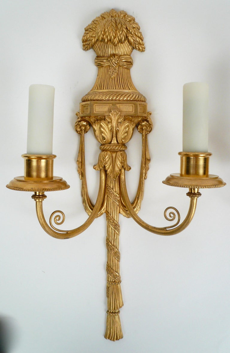 Pair Gilt Bronze Federal Style Neo-Classical Sconces by E. F. Caldwell For Sale 4