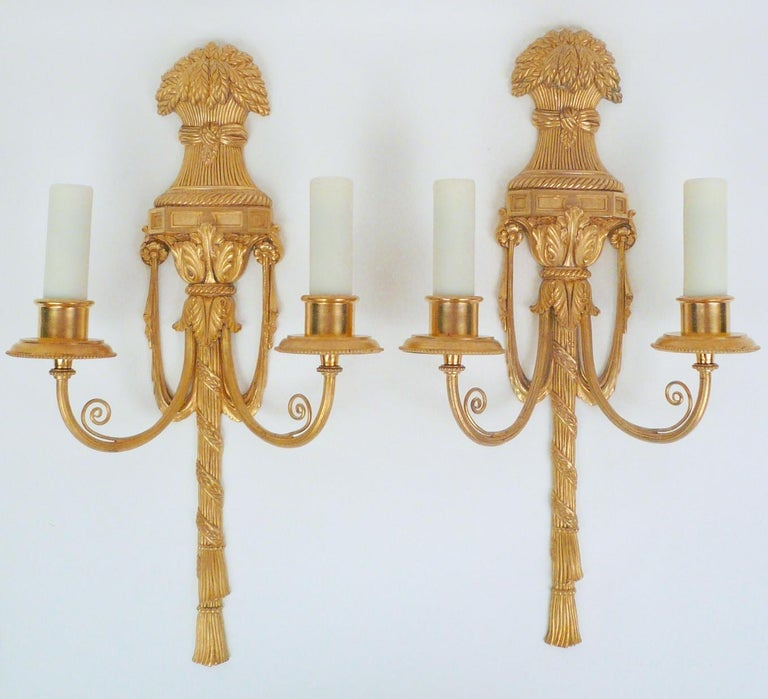 Neoclassical Pair Gilt Bronze Federal Style Neo-Classical Sconces by E. F. Caldwell For Sale