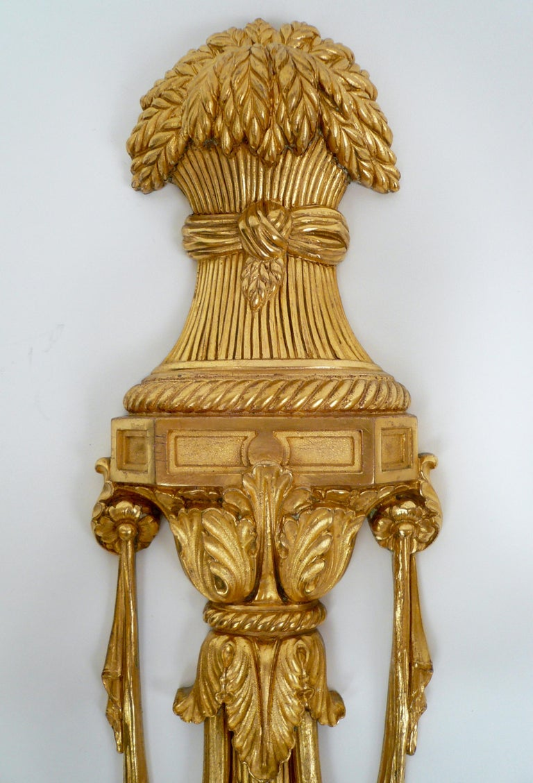 American Pair Gilt Bronze Federal Style Neo-Classical Sconces by E. F. Caldwell For Sale