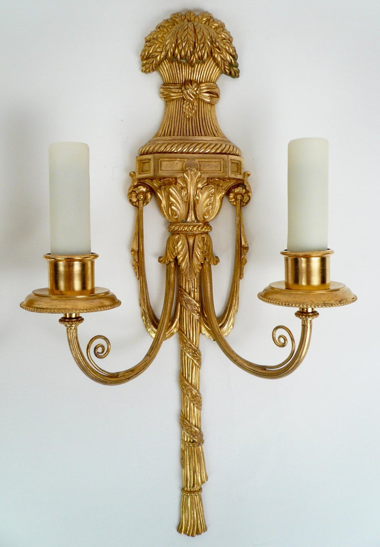 Pair Gilt Bronze Federal Style Neo-Classical Sconces by E. F. Caldwell In Good Condition For Sale In Pittsburgh, PA