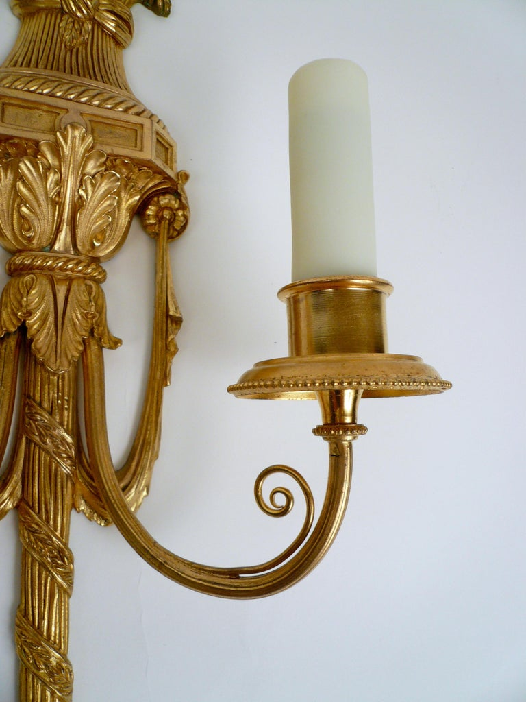 Pair Gilt Bronze Federal Style Neo-Classical Sconces by E. F. Caldwell For Sale 2