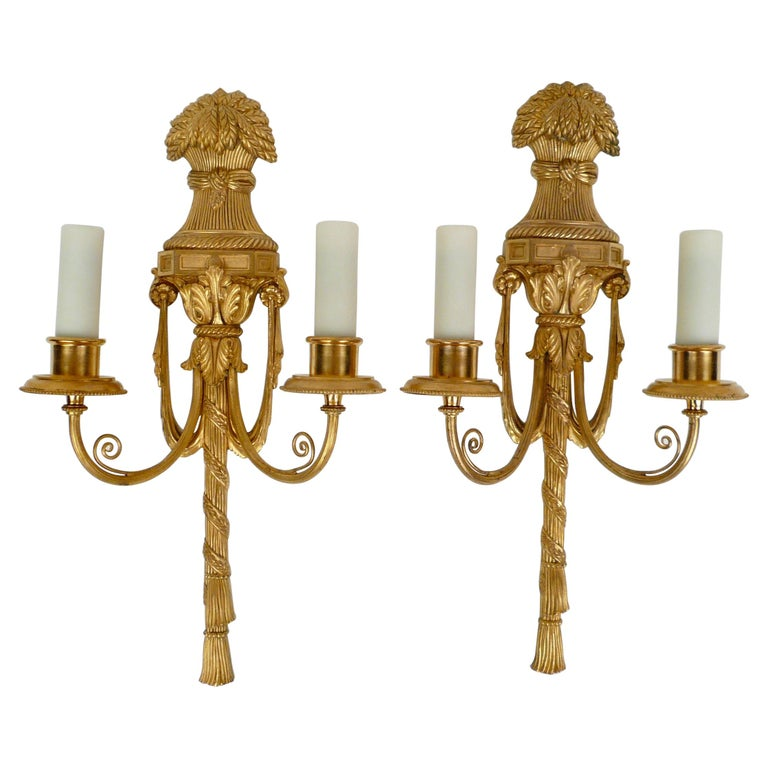 Pair Gilt Bronze Federal Style Neo-Classical Sconces by E. F. Caldwell For Sale