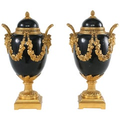 Pair Gilt Bronze Mounted Covered Decorative Urns