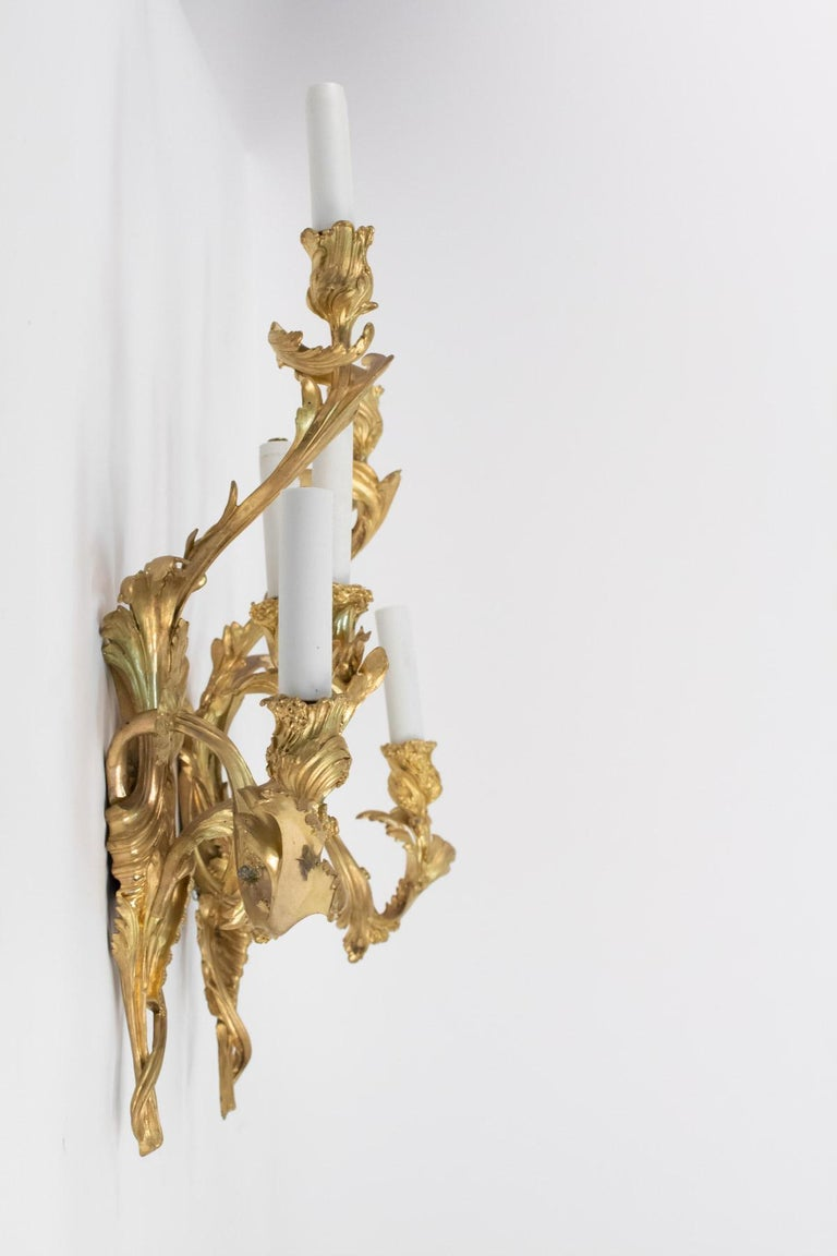 Pair of Gilt Bronze Sconces from the 19th Century in Louis XV Style For Sale 7
